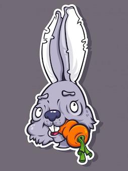 Adesivo con coniglietto carino mangiare carote in stile cartone animato.