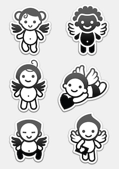 Angeli adesivi. set di icone, collezione di amorini segni Vettore Premium