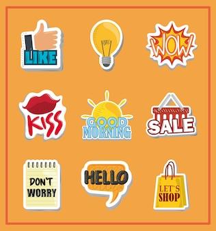 Collezione di adesivi con scritte divertenti e illustrazione vettoriale di design creativo