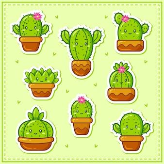 Adesivi del set di raccolta di cactus carino