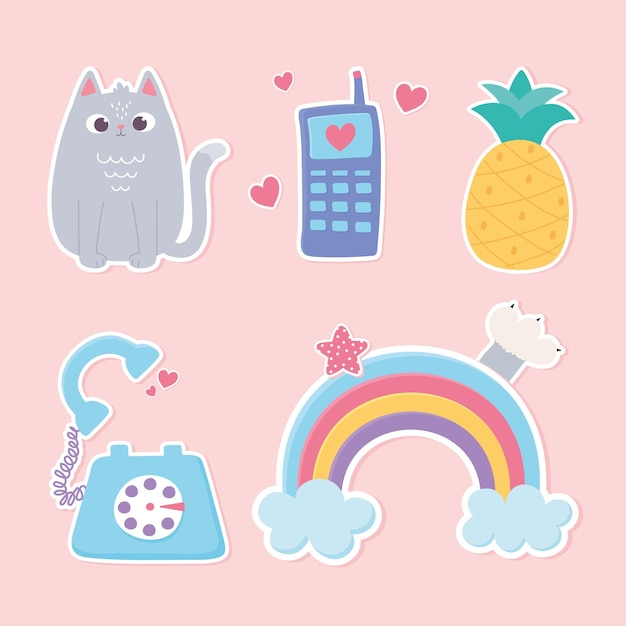 Adesivi decorazione fumetto arcobaleno gatto telefono cellulare e illustrazione stile ananas