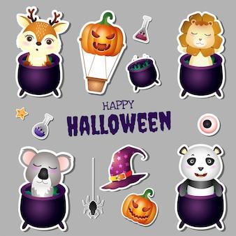 Adesivi collezione halloween con simpatici cervi, leoni, koala e panda