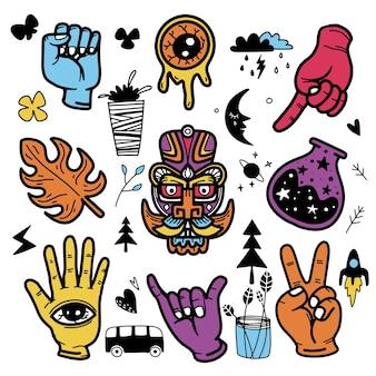 Stile di tatuaggio doodle disegnato a mano di adesivi