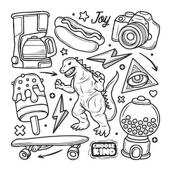 Adesivi disegnati a mano doodle