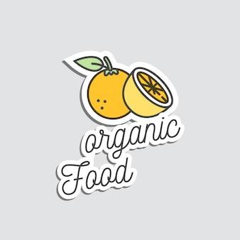 Arancione dell'illustrazione del distintivo e degli autoadesivi o del fumetto della toppa doodle frutta esotica estiva.