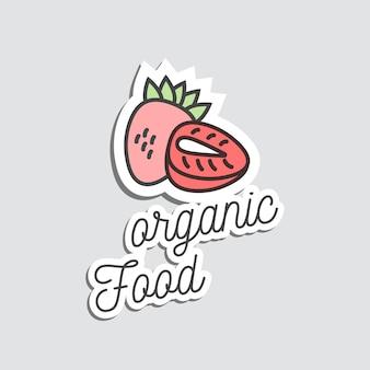 Adesivi o toppa del distintivo e fragola dell'illustrazione del fumetto. doodle gustoso frutto estivo.
