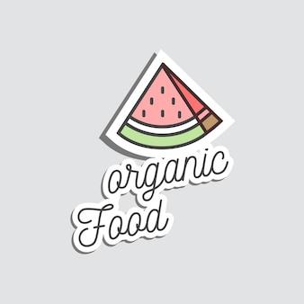 Adesivi o patch distintivo e anguria illustrazione dei cartoni animati. doodle gustoso frutto estivo.