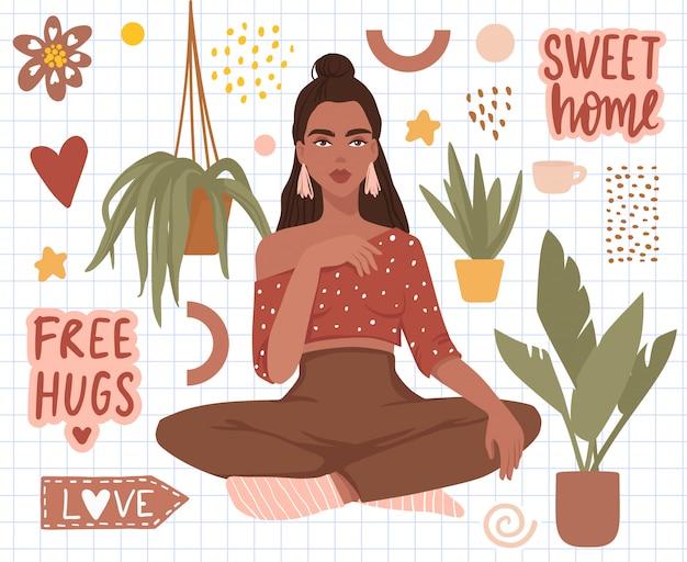 Set di adesivi con bella ragazza, piante domestiche, testo scritto a mano dolce casa.