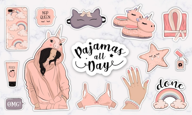Set di adesivi con una ragazza carina che indossa un costume da unicorno e oggetti di moda