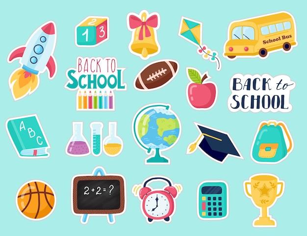 Collezione di adesivi con materiale scolastico su sfondo blu