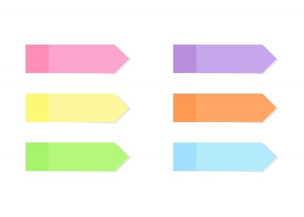 Carta per appunti colorata adesiva o pennarello impostato in stile piatto.