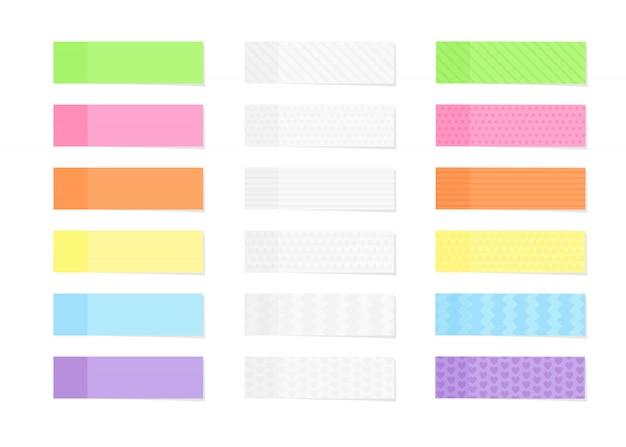 Carta per appunti colorata e testurizzata appiccicosa o pennarello impostato in stile piano isolato su bianco.
