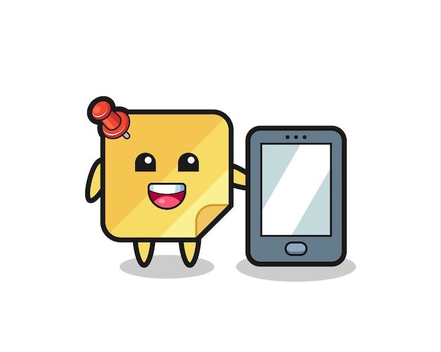 Fumetto dell'illustrazione della nota adesiva che tiene uno smartphone, design in stile carino per maglietta, adesivo, elemento logo,