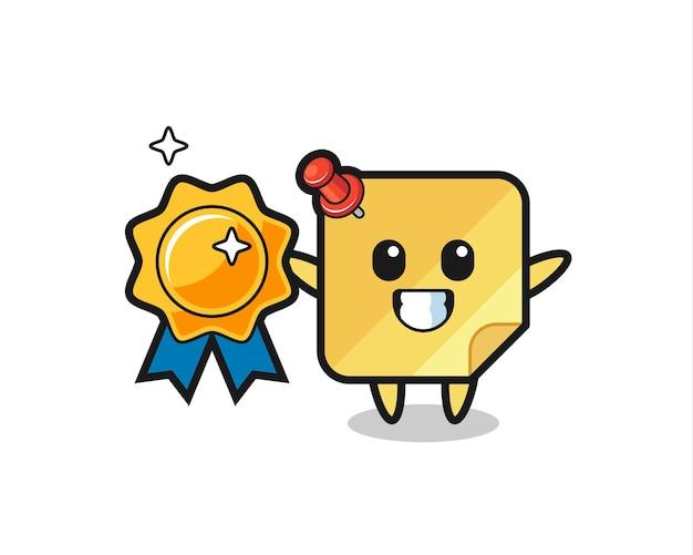 Illustrazione della mascotte della nota adesiva che tiene un distintivo dorato, design in stile carino per maglietta, adesivo, elemento logo