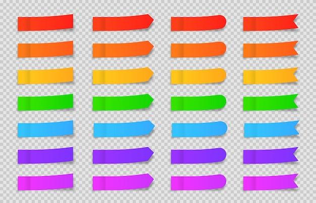 Set di vettori di segnalibri di carta per fogli appiccicosi nastri adesivi con modello di ombra carta per appunti postale
