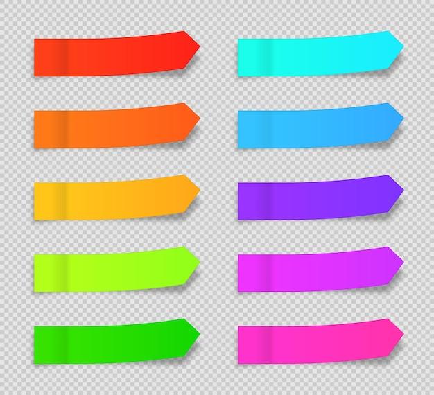 Set di vettori di segnalibri di carta per appunti appiccicosi nastri adesivi con modello di ombra