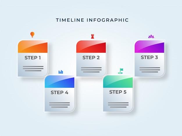 Elementi di infografica timeline nota adesiva con cinque diverse le