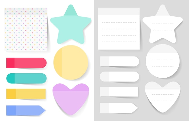 Set di illustrazioni di note adesive. foglio di carta bianca del blocco note per la pianificazione e la programmazione.