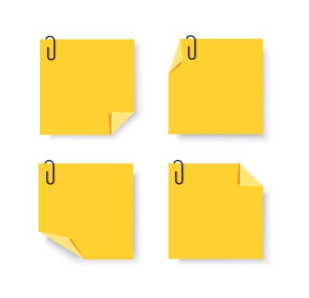 Carte adesive con fermagli per appunti vettore memo