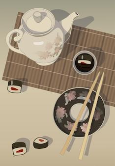 Natura morta con panini, tappetino, salsa di soia e illustrazione della teiera