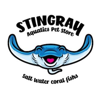 Logo della mascotte acquatica stingray