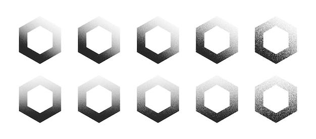Esagono puntinato disegnato a mano dotwork forme astratte impostate in diverse varianti isolati su sfondo bianco. collezione di elementi di design esagonale puntini di rumore nero di vari gradi