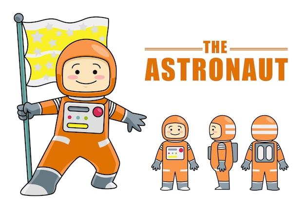 Stock di astronauta simpatico personaggio che tiene la bandiera. scheda modello per l'animazione. ottimo per mascotte.
