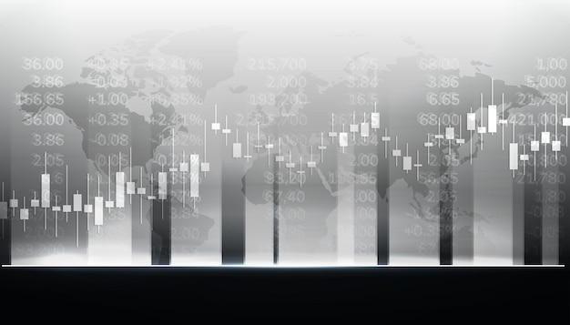 Commercio di investimenti di mercato grafico di borsa con mappa del mondo. piattaforma di trading. grafico commerciale. illustrazione vettoriale