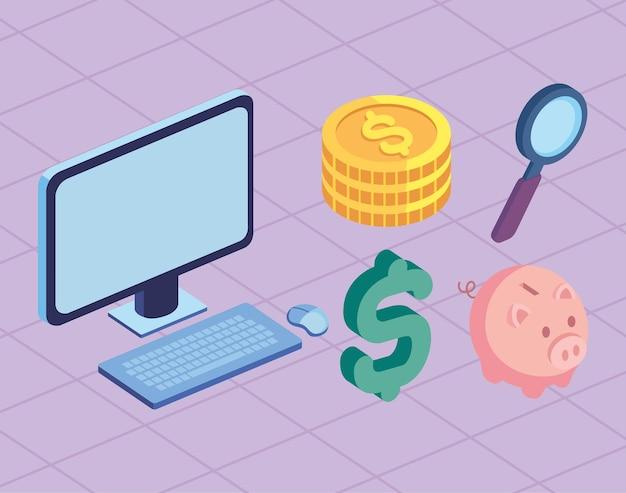 Stock finanziario cinque icone