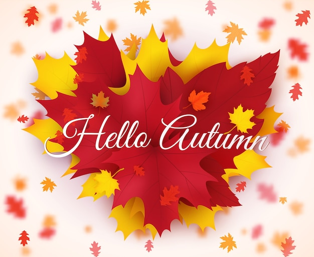 Illustrazione di riserva ciao autunno foglie che cadono. design autunnale. modelli per cartelloni, banner, volantini, presentazioni, report.