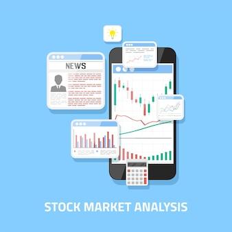 Concetto di analisi del mercato azionario, trading forex online, investimento.
