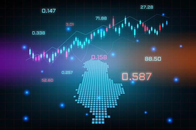 Sfondo del mercato azionario o grafico commerciale forex trading per il concetto di investimento finanziario della mappa dell'albania. idea di business e design dell'innovazione tecnologica.