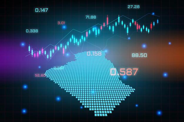 Sfondo del mercato azionario o grafico commerciale forex trading per il concetto di investimento finanziario della mappa dell'algeria. idea di business e design dell'innovazione tecnologica.