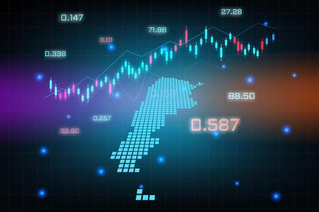 Sfondo del mercato azionario o grafico commerciale forex trading per il concetto di investimento finanziario della mappa dell'argentina. idea di business e design dell'innovazione tecnologica.