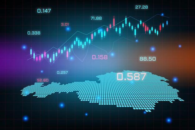 Sfondo del mercato azionario o grafico commerciale forex trading per il concetto di investimento finanziario della mappa dell'austria. idea di business e design dell'innovazione tecnologica.