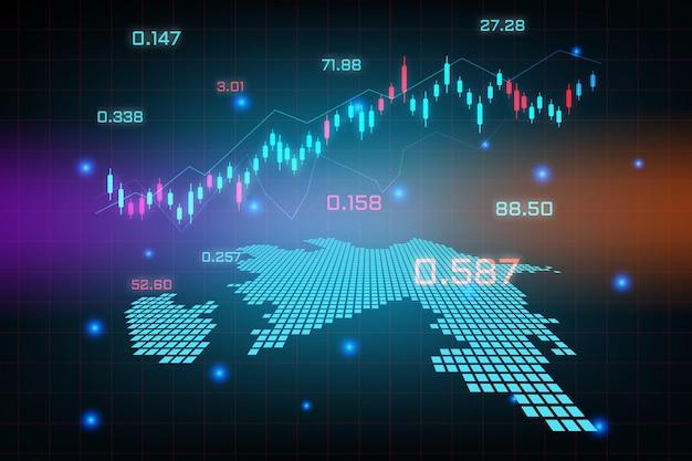 Sfondo del mercato azionario o grafico commerciale forex trading per il concetto di investimento finanziario della mappa dell'azerbaigian. idea di business e design dell'innovazione tecnologica.