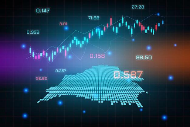 Sfondo del mercato azionario o grafico commerciale forex trading per il concetto di investimento finanziario della mappa della bielorussia. idea di business e design dell'innovazione tecnologica.