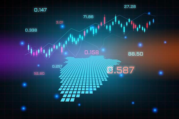 Sfondo del mercato azionario o grafico commerciale forex trading per il concetto di investimento finanziario della mappa del burundi. idea di business e design dell'innovazione tecnologica.