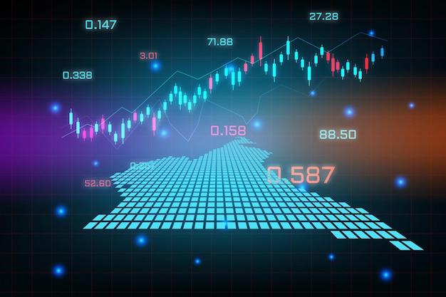Sfondo del mercato azionario o grafico commerciale forex trading per il concetto di investimento finanziario della mappa del camerun. idea di business e design dell'innovazione tecnologica.