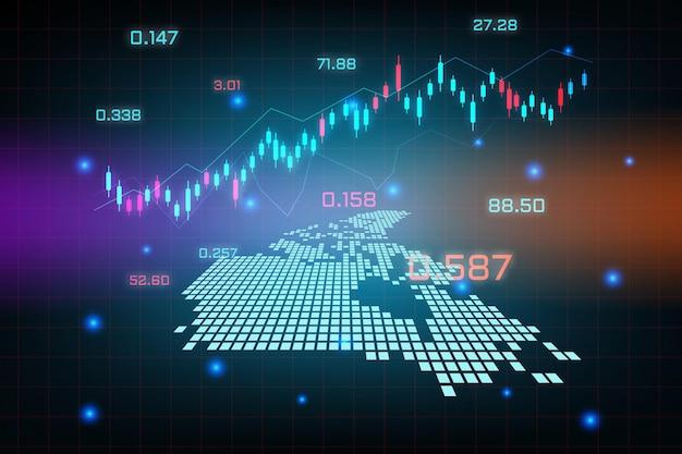 Sfondo del mercato azionario o grafico commerciale forex trading per il concetto di investimento finanziario della mappa del canada. idea di business e design dell'innovazione tecnologica.