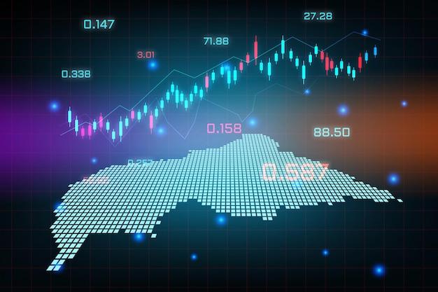 Sfondo del mercato azionario o grafico commerciale forex trading per il concetto di investimento finanziario della mappa della repubblica centrafricana. idea di business e design dell'innovazione tecnologica.