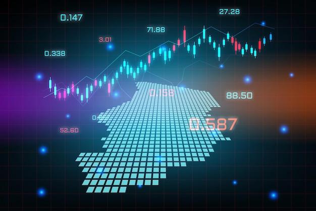 Sfondo del mercato azionario o grafico commerciale forex trading per il concetto di investimento finanziario della mappa del ciad. idea di business e design dell'innovazione tecnologica.