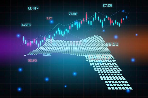 Sfondo del mercato azionario o grafico commerciale forex trading per il concetto di investimento finanziario della mappa dell'isola di natale. idea di business e design dell'innovazione tecnologica.