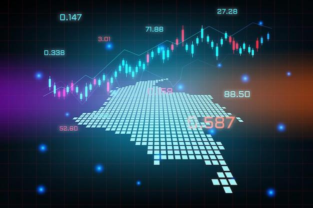 Sfondo del mercato azionario o grafico commerciale forex trading per il concetto di investimento finanziario della mappa della colombia. idea di business e design dell'innovazione tecnologica.