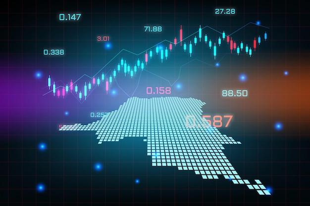 Sfondo del mercato azionario o grafico commerciale forex trading per il concetto di investimento finanziario della mappa della repubblica democratica del congo. idea di business e design dell'innovazione tecnologica.