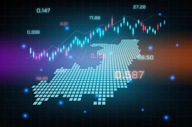 Sfondo del mercato azionario o grafico commerciale forex trading per il concetto di investimento finanziario della mappa del congo. idea di business e design dell'innovazione tecnologica.