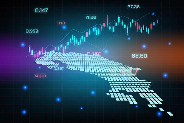Sfondo del mercato azionario o grafico commerciale forex trading per il concetto di investimento finanziario della mappa del costa rica. idea di business e design dell'innovazione tecnologica.