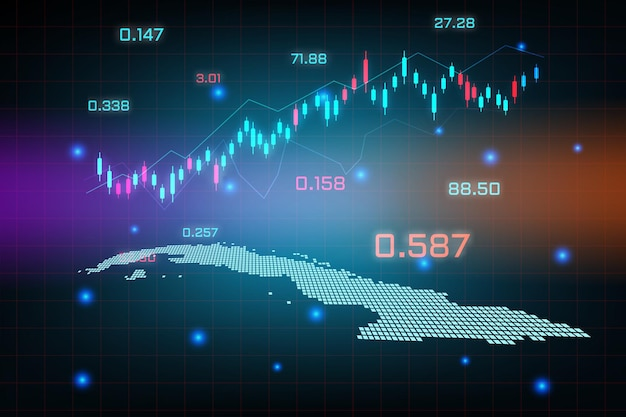 Sfondo del mercato azionario o grafico commerciale forex trading per il concetto di investimento finanziario della mappa di cuba. idea di business e design dell'innovazione tecnologica.