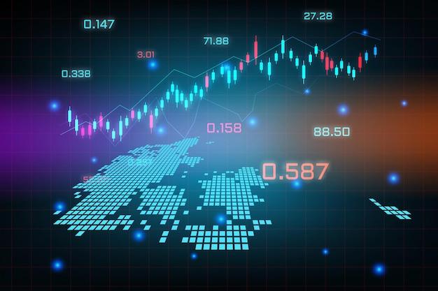Sfondo del mercato azionario o grafico commerciale forex trading per il concetto di investimento finanziario della mappa della danimarca.