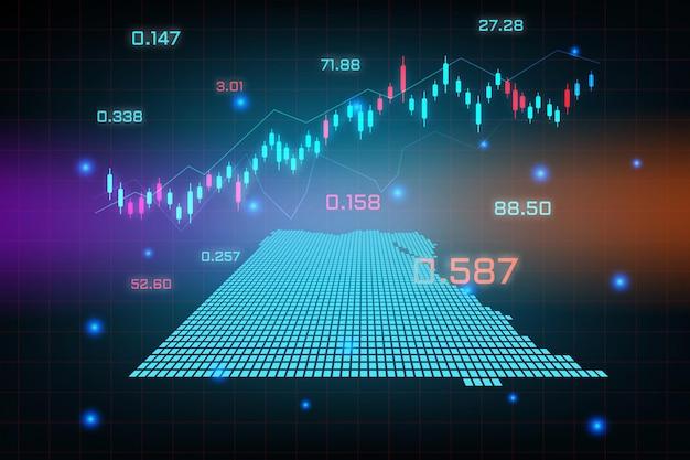 Sfondo del mercato azionario o grafico commerciale forex trading per il concetto di investimento finanziario della mappa dell'egitto.